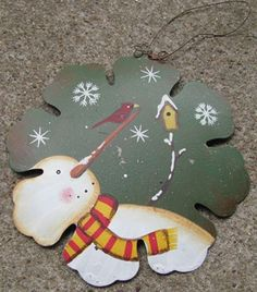 "40007G - Snowman Green Birdhouse   6"" Metal Snowman Ornament     $ 2.25"