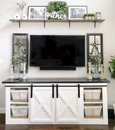 Farmhouse TV Stand Decor Furniture In 2019 Farmhouse . Remodelaholic Turn An Entertainment Center Into A TV . Home and Family Living Room Tv, Apartment Living, Home And Living, Small Living, Modern Living, White Living Room Furniture, Cozy Living, How Decorate Living Room, Dining Room