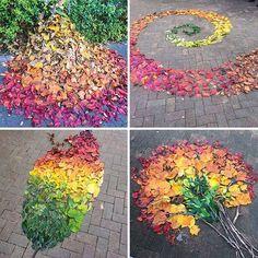 Dans la rue, les Japonais recyclent les feuilles mortes pour en faire des oeuvres d'art
