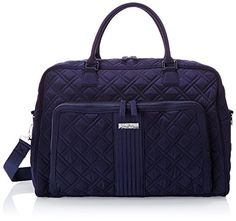 Vera Bradley Weekender Bag, Classic Navy, One Size Exterior features a slip pocket on the end and a zip pocket on the front. Vera Bradley Weekender Bag, Vera Bradley Luggage, Best Luggage, Spa Day, Travel Bag, Discount Shoes, Gym Bag, Diaper Bag, Classic
