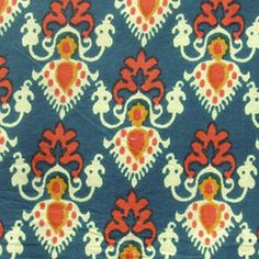 cotton print fabric  white and orange motif print on by pallavik