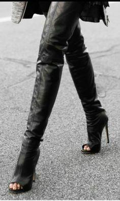 Open-toe thigh high boots