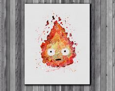 Calcifer poster, Howl's Moving Castle - Art Print, instant download, Watercolor Print by digitalaquamarine on Etsy https://www.etsy.com/listing/218603725/calcifer-poster-howls-moving-castle-art
