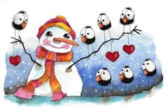 Original watercolor painting whimsical Stressie Cat snowman hearts crows #IllustrationArt