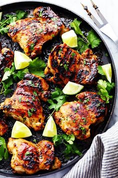 Perfectly grilled tender and juicy chicken marinated in a honey lime cilantro marinade.  The flavor of this chicken is incredible! ...