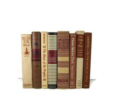 Vintage Books  Tan Taupe Red Brown for Wedding by DecadesOfVintage, $50.00