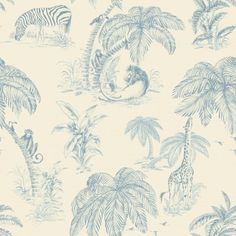 Palma+Soft+(98372)+-+Albany+Wallpapers+-+An+all+over+wallpaper+featuring+a+fun+jungle+design,+including+various+animals+and+tropical+plants.+Shown+here+in+the+blue+colourway.+Other+colourways+are+available.+Please+request+a+sample+for+a+true+colour+match.+Paste-the-wall+product.