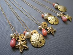 Set of 6 Beach Wedding Jewelry Bridesmaid necklace by Muse411, $220.00
