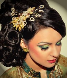Pakistani bridal, hair accessory and makeup
