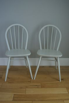 Pair of Ercol Style Painted Wooden Chairs by BaskervilleRoss