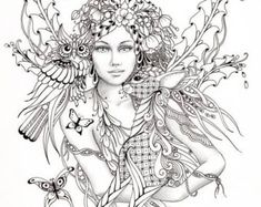 Intricate Fairy Coloring Pages | ... fairy tangles coloring sheet fairies owls deer digi coloring page 5