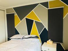 Teen boy bedroom geometric wall Dorm Room Designs, Bedroom Wall Designs, Bedroom Wall Colors, Accent Wall Bedroom, Room Colors, Living Room Accents, Living Room Decor, Bedroom Decor, Study Room Design