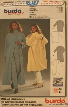 Burda 8878, Women's Coat, Women's Coat Pattern, German Sewing Pattern, Size 10 - 24, UNCUT