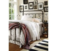 Eclectic bedroom with white bedding, similar to existing. PB Found Authentic Kantha Throw | Pottery Barn.