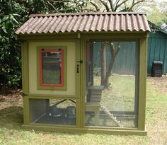 I want this chicken coop! It is awesome. I wonder how hard it would be to make. I wish I had some wood working tools :)