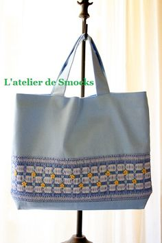Handmade Smocked Bag for School Girl by L'atelier de Smocks♡ Great way to use vintage smocked dresses that are worn out~