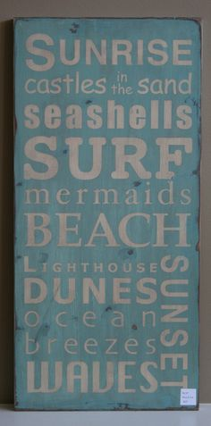 Beach Typography Word Art Sign