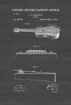 Stratton Acoustic Guitar Patent 1893 - Guitar Patent Guitar Poster Acoustic Guitar Music Poster Music Art Musical Instrument Patent by PatentsAsPrints Guitar Posters, Art Posters, Acoustic Guitar Case, Patent Office, Guitar Lessons For Beginners, Patent Prints, Technical Drawing, Print Format, Musical Instruments