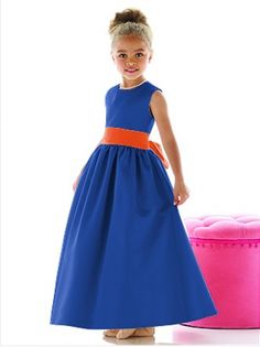 Sapphire Blue Flowergirl Dress With Orange Sash Wedding Girl