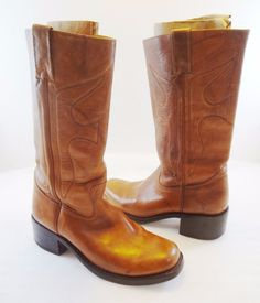 Frye Womens 9 B Campus Tan Leather Cowboy Western Riding Boots 77875 Mexico Made #Frye #RidingEquestrian #Casual