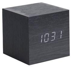 karlsson cube mini clock led black hout fineer zwart