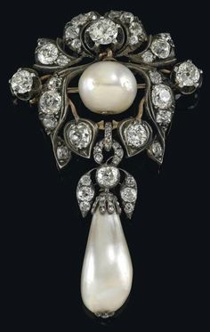 Diamond and pearl brooch, gold and silver, circa 1900