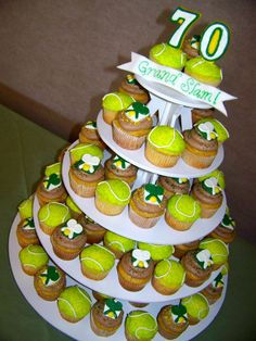Tennis 70th Birthday Cupcakes