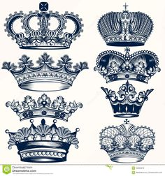 Set Crowns In Vintage Style Stock Image - Image: 31361671
