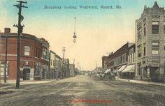 Monett, Missouri Broadway Looking Westward street view vintage postcard, antique, photo