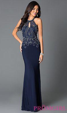 Navy Long High Neck Beaded Design Sheer Back Prom Dress at PromGirl.com