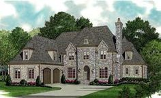 Country European House Plan 85589 Elevation Put the garage in back, and frame all windows and archways in flush ashlar with a slate or ceramic tile roof, and this would be perfect.