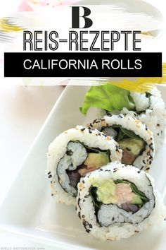 Reis-Rezepte aus aller Welt Rice: rice recipes from around the world. You can impress your friends with homemade sushi. How about a salad and a … California Rolls, Rice Recipes, Healthy Recipes, Homemade Sushi, Raspberry Smoothie, Food Staples, Rice Krispie Treats, Rice Dishes, Crunches