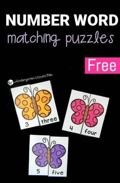 Work on number identification and reading number words with these fun and free butterfly number word puzzles. Perfect for a math center or activity! #mathcenter #math #numbers #freeprintable #kindergarten #prek #iteachtoo