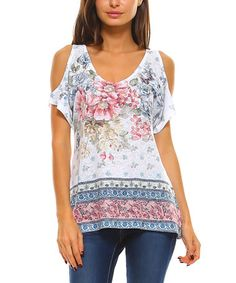Look what I found on #zulily! White & Pink Floral Cutout Top #zulilyfinds