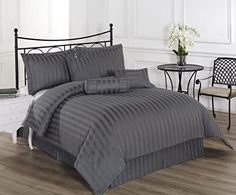 100  Cotton 7PC Queen Comforter Set 350 Thread Count Bed Cover Royal Calico Damask Stripe -- Continue to the product at the image link.