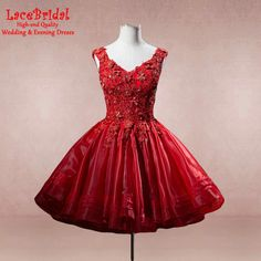 Find More Cocktail Dresses Information about Elegant Short V Neck Red Ball Gown Crystal Beaded Lace Cocktail Dresses 2016 Featuring Organza Skirt Formal Party Prom Gowns H43,High Quality gown outlet,China gown uk Suppliers, Cheap gown wrap from LaceBridal on Aliexpress.com