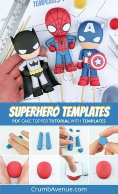 Superhero Cake Topper TEMPLATES - Be Batman - Ideas of Be Batman - You can use these general Superhero TEMPLATES to make many popular characters!