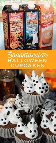How to make Chocolate Peanut Butter cupcakes topped with ghost meringues with seasonal Spooktacular Egg Nog and Chocolate Peanut Butter Milks.