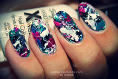 Splatter nails.. Dip the straw in your polish and blow onto nails!    Tip: cover your skin with vaseline; wipe off the vaseline - wipe off the excess splatter!