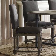 Renate Grey Upholstered Fabric and Wood Dining Room Chairs (Set of 2)