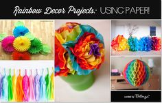 DIY Rainbow Party Decorations Made from Paper From Backdrops to Paper Pom Poms to Hanging Tassels, Honeycomb Balls, and Tissue Flowers!