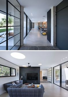Once inside this modern and to one side of the front door is the main living, dining and kitchen area. Grey couches are positioned to focus on the backyard and on the television. #Windows #LivingRoom