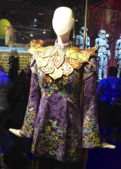 A close up look at Mia Wasikowska's Alice Through the Looking Glass Mandarin costume. You can see a lot of the details in the fabric of the costume. From Hollywood Movide Costumes and Props.