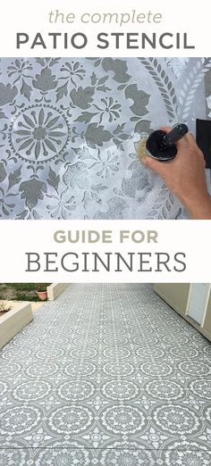 Step by step instructions to transform your patio with a stencil Painted Concrete Porch, Stenciled Concrete Floor, Diy Concrete Patio, How To Paint Concrete, Concrete Edging, Porch Flooring, Outdoor Flooring, Diy Flooring, Backyard Patio