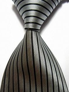 New Classic Stripes Black Silver JACQUARD WOVEN 100 Silk Mens Tie Necktie ** Read more reviews of the product by visiting the link on the image.