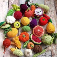 Crochet fruits n veg Crochet Fruit, Crochet Food, Crochet Yarn, Kawaii Crochet, Cute Crochet, Crochet For Kids, Crochet Fall Decor, Granny Square Crochet Pattern, Crochet Cross