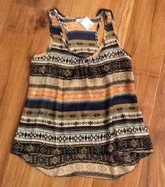 NWT Trendy Sheer Aztec/Tribal Tank Top--Gypsy/Boho, Size Medium