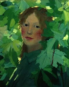 Young woman amid the leaves, Helene Schjerfbeck Ateneum Art Museum Helsinki Helene Schjerfbeck, Art And Illustration, Figure Painting, Painting & Drawing, Painting Abstract, Acrylic Paintings, Abstract Landscape, L'art Du Portrait, Portrait Paintings