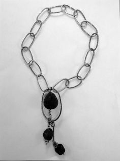 Necklace of sterling silver and black tourmaline.  Jude Carmona - Jude Designs