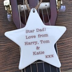 personalised father's day hanging star by carys boyle ceramics | notonthehighstreet.com